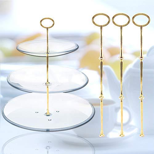 Surepromise 3 Sets Metallstangen Mittellochausstech Tier Stand Gold für 2 bis 3 Etagere Etage Torten Hochzeitstorte Tortenständer