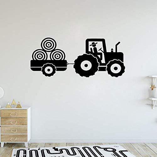 Niño Tractor Etiqueta de Vinilo de Pared Niño Dormitorio Remolque Patrón de Granja Calcomanías de Arte Niños Habitación de Niños Decoración Creativa Mural Poster A8 57x26cm