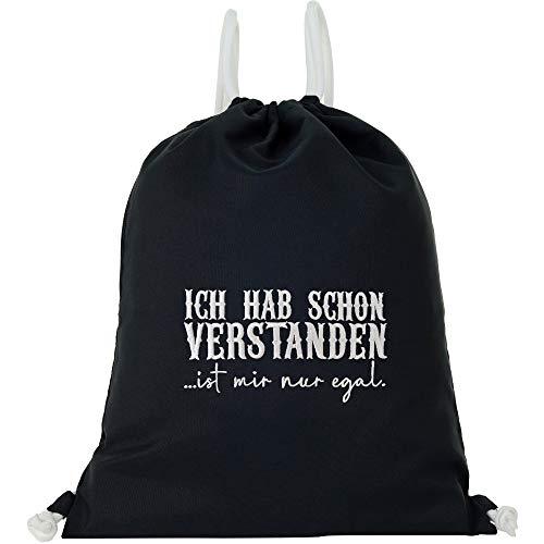Bolsa de deporte impermeable negra con texto en alemán 'Ich Hab Schon Verstanden? IST Mir NUR EGAL Gymsack hombre Gym Bag Hipster Bag Mochila para hombre / mujer bolsa de deporte mochila mujer niña