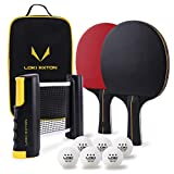 LOKI RXTON Ping Pong Paddle Set, 2-Player Table Tennis Rackets with Retractable Net for Any Table, 3-Star Balls, Portable Storage Case, Ideal Indoor and Outdoor Sports Kit for All Ages