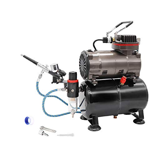 エアーブラシスターティングキット オイルレス3Lタンク付き エアーコンプレッサー ダブルアクションエアブラシ付き 静音タイプ 塗装 スプレー モデル