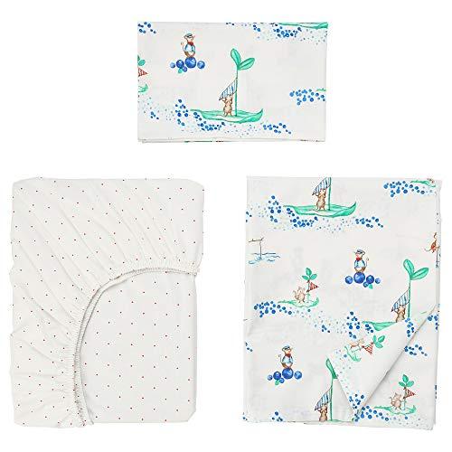 RÖDHAKE Bettwäsche 3-teilig für Kinderbett 110x125/35x55 cm Segelmaus