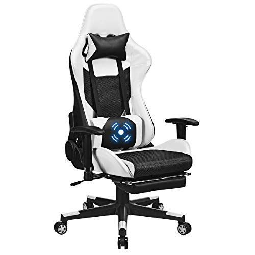 Giantex Massage Gaming Chair Adjustable High Back Computer Racing Seat with Health Massager Lumbar Support, Thick Memory Sponge with 360 Degree, Retractable Foot Shelf (Black & White) chair gaming white