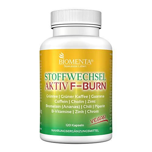 BIOMENTA Stoffwechsel Aktiv - mit Grüntee, Grüner Kaffee, Guarana, Koffein, Cholin, Zimt, Bromelain, Chili, Piperin uvm - 120 vegane Kapseln