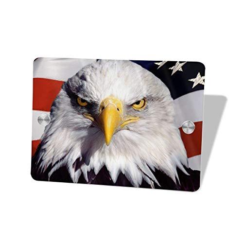 Iop 90p - Placa Decorativa para Puerta, diseño de águila Calva Americana, Madera MDF, Blanco, Talla única