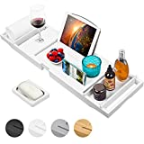 Kiwaly Bathtub Caddy Tray with Wine Glass Holder Adjustable Book Stand Waterproof Cloth Extendable Non Slip Sides 2 Removable Boards Bamboo Bath Organizer