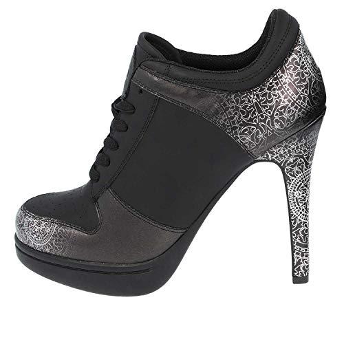 MISSY ROCKZ Black Mandala 2.0 Silver Edition Bequeme High Heels, Größe: EU 39 / UK 6.5 / US 8.5, Absatz: 10.5 cm