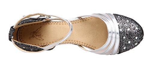 Honeystore Frauen's Funkelnde Glitzer Lackleder Heels Absatzschuhe Moderne mit Knöchelriemen Tanzschuhe Silber 37 EU - 3