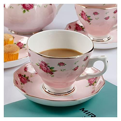 Essinged Hueso China Tazas de café Platos Eleware Europeo Estilo Pastoral Europeo Impresión Floral Tarde Conjunto de té de Porcelana Tazas y Placas 170ml (Color : 3)