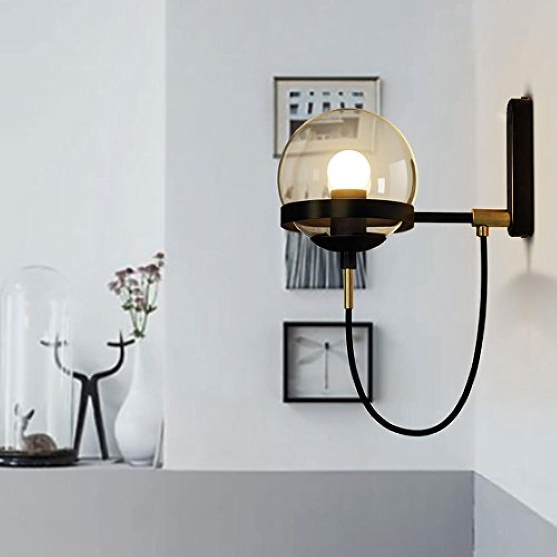 Postmodern Nordic Einfache Transparentes Glas Sphrische Lampe Retro American Bronze Ring Wandleuchte Wohnzimmer Wandleuchte Hotel Lobby Dekoration Wandleuchte Restaurant Licht (Farbe   Schwarz)