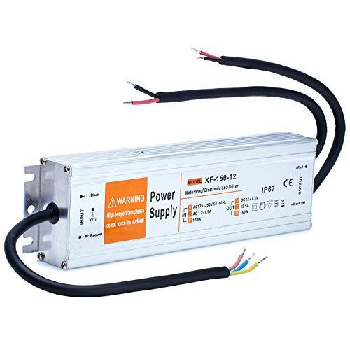 Yafido Led Trafo 12V 150W 12,5A IP67 Wasserdicht Driver Leuchtmittel Transformator Für G4 MR11 MR16 GU5.3 LED Birne sowie Lichtstreifen 230V auf 12V Treiber