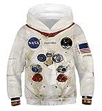Ainuno 3D Hoodie Boys Kids Girls White Space Sweatshirt NASA Astronaut...
