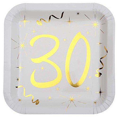 Chal - 10 Assiettes anniversaire 30 ans blanc et or