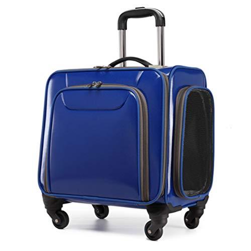 MTCWD Trolley Hundetrolley für Hund bis 15kg Oder 2 Kleine Katze Hundebox Katzenbox Transportbox Hundewagen (Color : Blue)