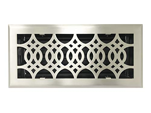 Empire Register Co, Strathmore Design, Brushed Nickel Finish, Heavy Duty Floor Register. Floor Vent Covers Size - 4 x 10 inch, Overall Face Size - 5.5 x 11.5 inch.