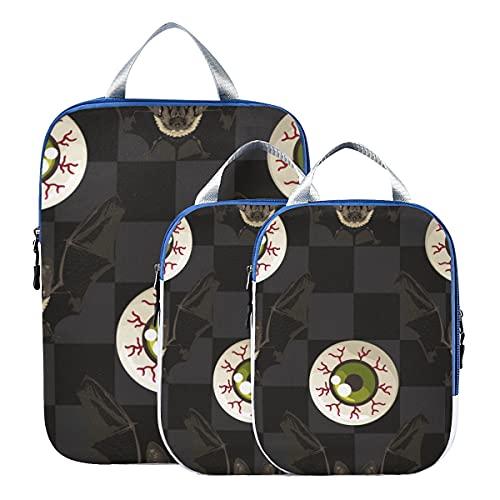 Imballaggio a compressione cubo umano organo creativo arte bulbo oculare valigia organizzatori espandibili sacchetti di imballaggio per bagaglio a mano, viaggio (set di 3)