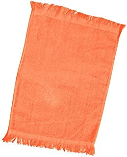 Terry Velour Fingertip Towel with Fringed Ends (3, Orange)