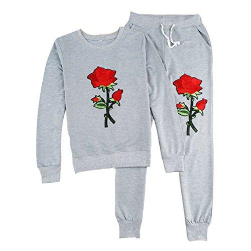 ZKOO Ensemble de Sweat-Shirt Femmes Roses Broderie Sweatshirt + Sports Jogging Pantalons Survêtement Sportswear 2 pc Gris