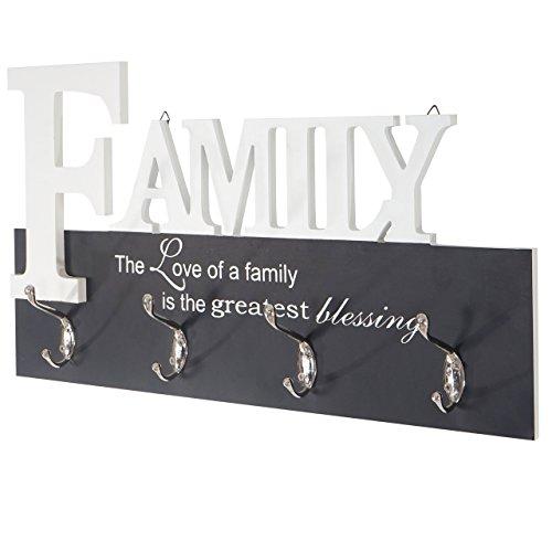 Mendler Wandgarderobe Family, Garderobenleiste Garderobe, mit 8 Haken 28x50cm