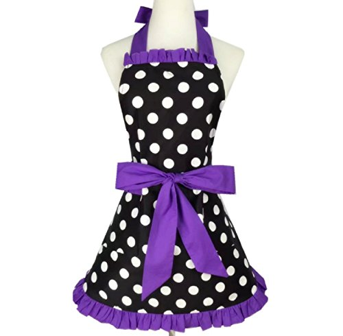 SMARTitns Aprons for Women Retro Vintage Aprons, Cooking Kitchen Aprons Plus Size with Extra Ties & Pocket 28.3 x 24.4 (Purple)