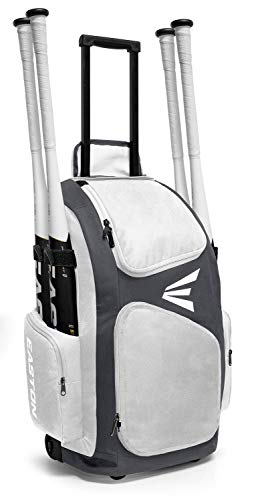 EASTON TRAVELER Bat & Equipment Wheeled Bag | Baseball Softball | 2020 | White | 4 Bat Sleeves | Vented Gear & Shoe Compartments | 2 Side Zippered Pockets | Telescope Handle | Stands Up | Fence Hook