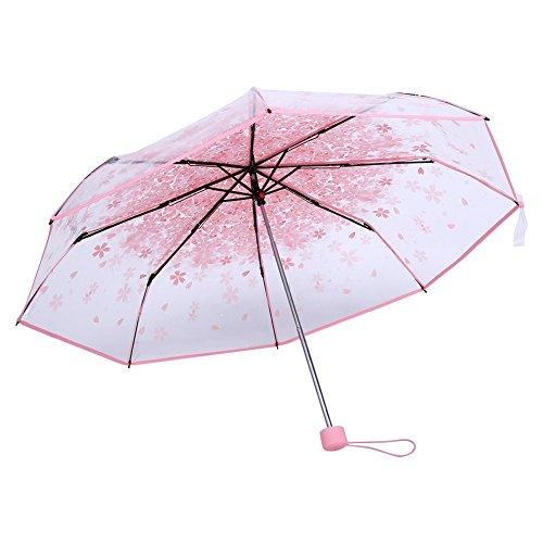 Zerodis Regenschirm mit Kirschblüten für Wind und starken Regen, 91,4 cm, transparent, ., rose