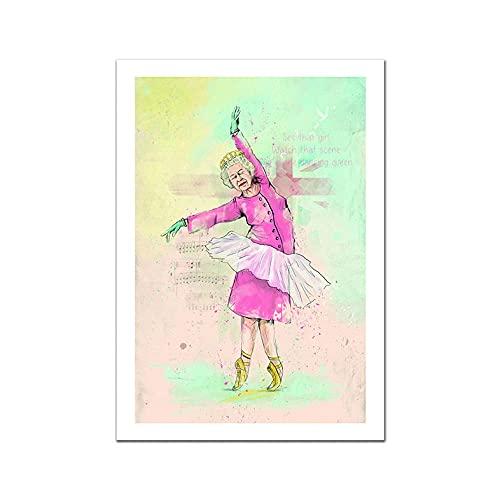 UHYGT Anime Queen Poster Ballerina Leinwand Malerei An Der Wand Elizabeth II Niedliche Kunstdrucke Cartoon Bild Für Wohnzimmer Dekor 50x70cmx1 Kein Rahmen