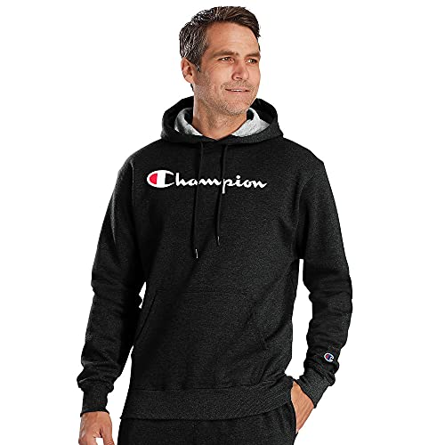 Champion Men's Powerblend Fleece Pullover Hoodie, Script Logo, Black-Y06794, Medium