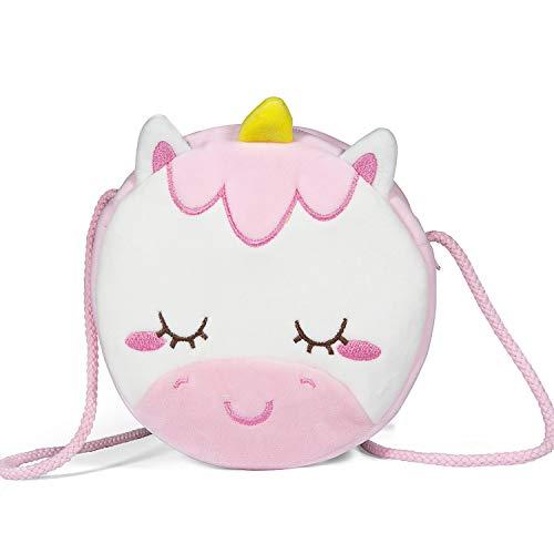 Czemo Kinder Umhängetasche Mädchen Handtasche Schultertasche Plüsch Geldbeutel Kindertasche Mädchen Spielzeug (Einhorn)