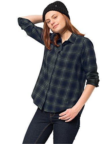 Jack Wolfskin Damen ARENDAL Shirt Karobluse Freizeitbluse Bluse, grünlich grau Checks, XL