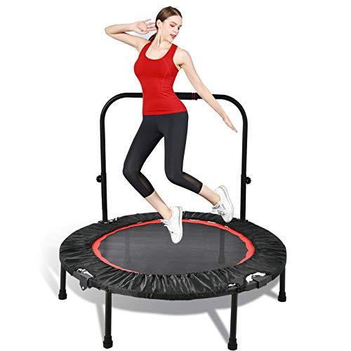 Trampolino portatile e pieghevole da 100 cm, trampolino fitness per esercizi con corrimano in schiuma regolabile, per adulti Mini trampolino fitness per interni all aperto, carico massimo 100 kg