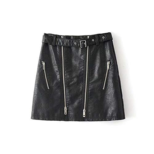 Hoge taille met riem Faux Leather Skirt Women PU Leather Solid mini-rokjes Streetwear Vrouw rits korte A-lijn rok (Color : Black, Size : M)