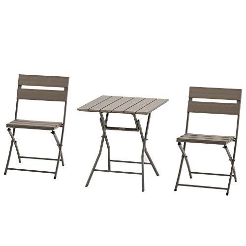 Outsunny Ensemble Bistro de Jardin 3 pièces Pliables Design Contemporain Table carrée et 2 chaises à Lattes métal époxy PE Aspect Bois