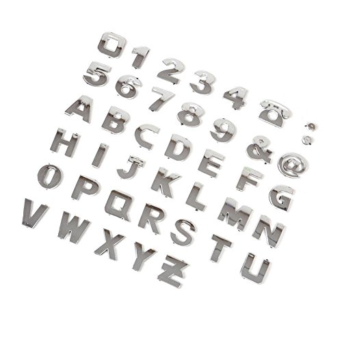 Rungao 40Pcs DIY 3D Chrome Car Emblem Sticker Alphabet Letter Number Symbol Badge Decal