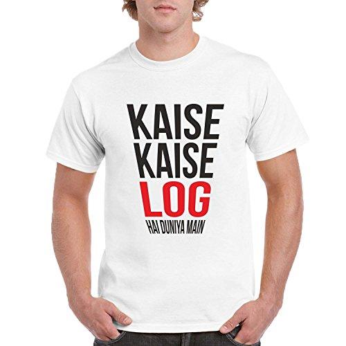 FUNKY STORE Kaise Kaise Log Hai Hindi Slogan Young Trendz Dri-Fit T-Shirt (FS165S) White