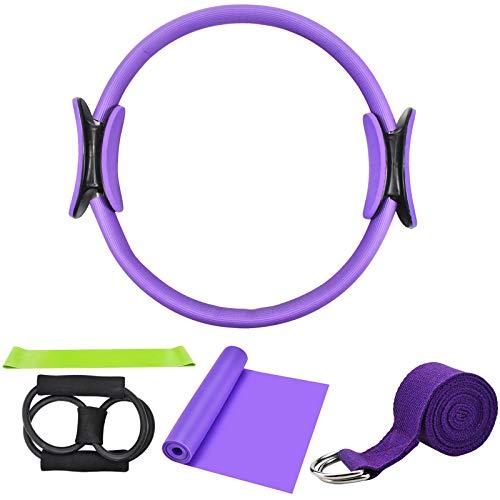 Chstarina 5Pcs Pilates Ring und Fitnessbänder Set, Widerstandsring Loop Doppelgriff Pilates Yoga Ringe Magic Übungskreis mit 1Pcs Baumwollgurt und 3PCs Widerstandsbänder für Fettverbrennung, Ø 38cm