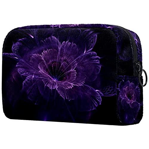 Neceser de viaje de la bolsa de maquillaje, resistente al agua, flores grises de nylon 8x3x3.5 pulgadas