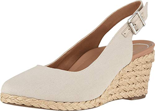 Vionic Women's Aruba Coralina Slingback Wedge - Espadrille Wedges with Concealed Orthotic Arch Support Oat 9 Medium US