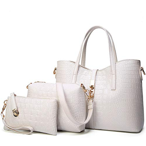 MATERIAL: High Quality PU Leather Texture:Alligator Grain,Purses and Handbags 3 PIECES PURSES SETS:You can carry it in diffrent ways: Leather Tote---You can use this as large tote bag to carry your stuffs when you going out; Shoulder Purse---It conta...