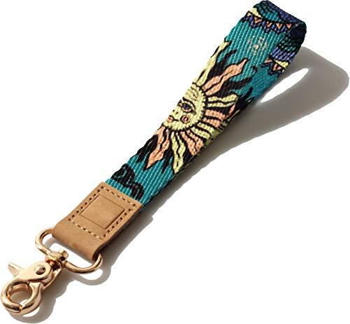 wrist landyard, Bohemian Sun and Moon Face Art Designs Wristlet Keychain, wrist lanyard for keys, key wrist strap (Sun Moon)