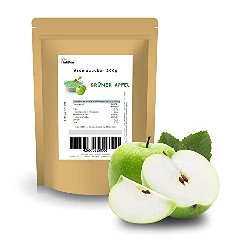 JuliDon® Aromazucker GRÜNER APFEL - Zucker für Zuckerwattemaschine aromatisierter Popcorn-Zucker bunter Zuckerwatten Zucker Farbzucker mit Geschmack | 1x 200g