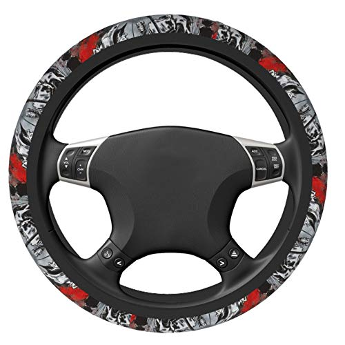 Afro Samurai Car Steering Wheel Covers Accessories Suitable for Most Breathable Anti-Slip Durable Elasticity Steering Wheel Protector Universal 15 Inch Fit Most Sedan SUV