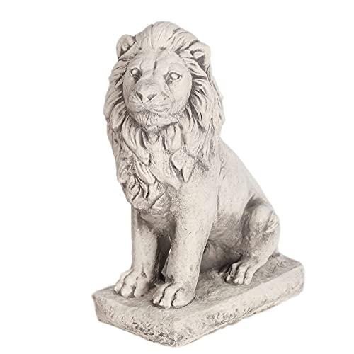 Antyki24 Torwächter Löwe Figur groß 34cm - Gartenfiguren Für Außen aus Stein frostfest - Löwe Deko Statue Steinfigur Skulptur auf Podest - Gartenfigur Löwe als herrliches Torhüter