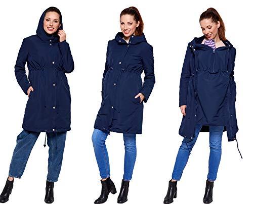 Be Mama - Maternity & Baby wear 3in1 - Winter Tragemantel & Umstandsjacke & Damenjacke Parka in einem, kuschelig warm und wasserabweisend, Winterjacke Pauline, dunkelblau, L