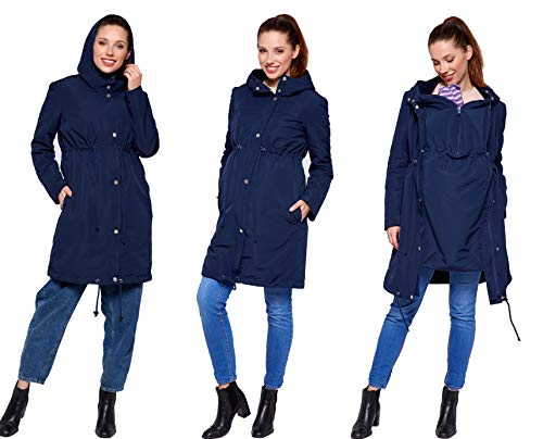 Be Mama - Maternity & Baby wear 3in1 - Winter Tragejacke & Umstandsjacke & Damenjacke Parka in einem, kuschelig warm und wasserabweisend, Winterjacke Pauline, dunkelblau, S
