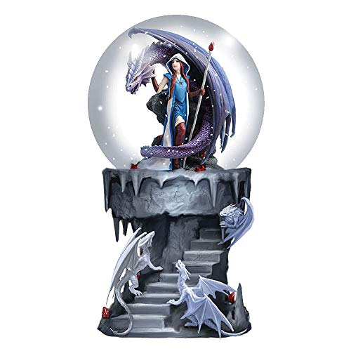 Nemesis Now Snowglobe, Purple Anne Stokes Dragon Mage Schneekugel Shaker, Polyresin, Violett, 18.5cm