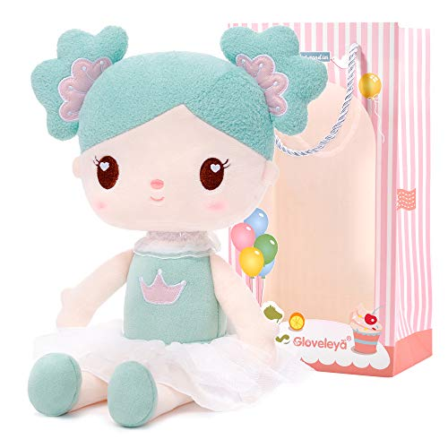 Gloveleya Girl Toys First Baby Doll Plush Dolls Girl Gifts Candy Girl Green 14.5 Inches