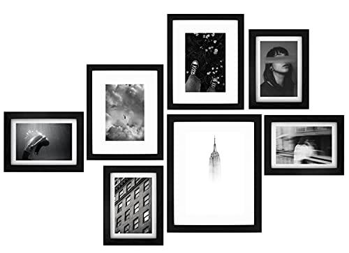 IN2DESIGN Juego de 7 marcos de fotos, collage, marcos de fotos, diferentes tamaños, marcos de madera, marcos de fotos, collage para pared, marco de fotos, marco negro