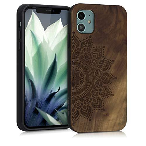 kwmobile Cover in Legno Compatibile con Apple iPhone 11 - Custodia Rigida con Bumper in Silicone TPU in Legno di Noce Sole Marrone Scuro
