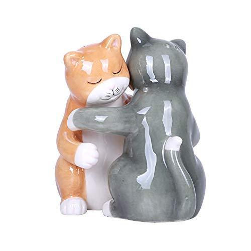 Pacific Giftware Salz- und Pfefferstreuer-Set, Motiv: umarmende Katzen, magnetisch
